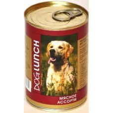 Дог Ланч консервы для собак Мясное ассорти в желе (410г, 750г)