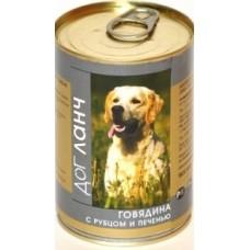 Дог Ланч консервы для собак Говядина с рубцом и печенью в желе (410г, 750г)