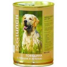 Дог Ланч консервы для собак говядина с сердцем и печенью (410г, 750г)