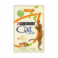 Cat Chow adult для взрослых кошек, курицей и кабачками в желе 85 г