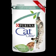 Cat Chow для взрослых стерилизованных кошек, с курицей и баклажанами в соусе 85 г