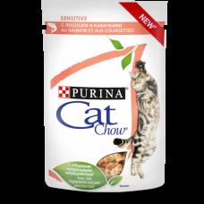 Cat Chow Sensitive для взрослых кошек с чувствительным пищеварением, с лососем и кабачками в соусе 85 г
