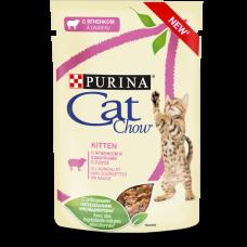 Cat Chow для котят, с ягненком и кабачками в соусе (подходит для стерилизованных котят, беременных и кормящих кошек) 85 г