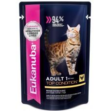 Eukanuba Adult Chicken для взрослых кошек с курицей в соусе 85г