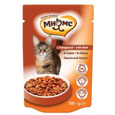 Мнямс With Beef для кошек с говядиной в соусе (100г)