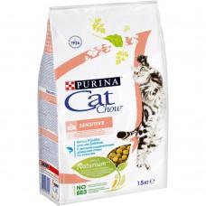 Cat Chow Sensitive для кошек с чувствительным пищеварением с лососем