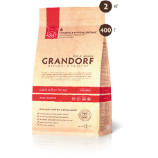 Grandorf Indoor ягненок рис для взрослых кошек 400г