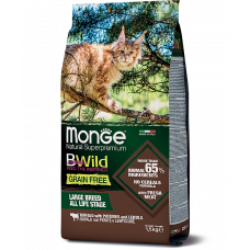 Monge BWild Cat GRAIN FREE Buffalo беззерновой корм из мяса буйвола для крупных кошек 1.5кг