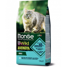 Monge BWild Cat GRAIN FREE MERLUZZO беззерновой корм из трески для взрослых кошек 1.5кг