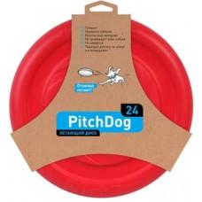 PitchDog летающий диск d 24 см красный